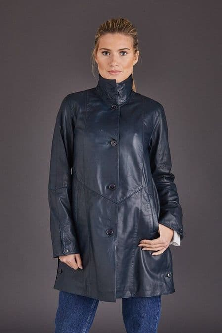 Swing Leather Coat Navy Womens